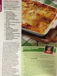 Buffalo Chicken Lasagna - Taste of Home Magazine, Feb/March 2013....if you don't like it too spicy use mild wing sauce