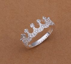 Sterling Silver Cubic Zirconia Princess Crown ring by GCRDesigns