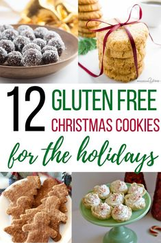 I love these gluten free Christmas cookies for the holidays! Check out this list of gluten free holiday desserts that includes gluten free cookie recipes and some vegan Christmas cookie recipes too! Perfect holiday desserts for food allergy families. #glutenfree #Chritmascookies #veganholidays Gluten Free Cookie Recipes, Gluten Free Cookies, Free Recipes, Vegan Recipes, Bar Recipes, Recipes Dinner, Baking Recipes, Dessert Recipes, Gluten Free Christmas Cookies