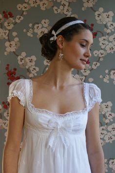 I love this wedding dress, reminiscent of a Jane Austen bride. Natacha : Empire style wedding dress, embroidered cotton voile and laces. via Etsy. Empire Style Wedding Dresses, Best Wedding Dresses, Wedding Gowns, Regency Dress, Regency Wedding Dress, Regency Era, Vintage Nightgown, Dress Plus Size, Vestidos Vintage