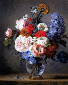 Flowers In A Crystal Vase    Anne Vallayer-Coster ( 1744 – 1818)
