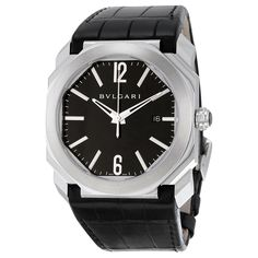 83a0533ea91 Bvlgari Octo Solotempo Automatic Black Dial Black Leather Men s Watch 101964