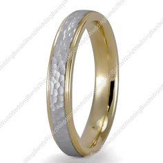 Two Tone Wedding Bands in 18K Gold 4.00mm, Comfort Fit, 18K-TT4038  SKU: 18K-TT4038