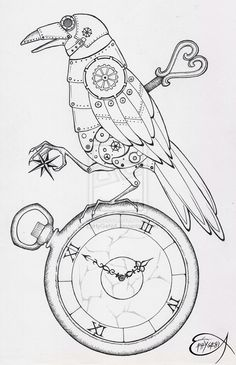 steampunk line drawing animal - Google Search