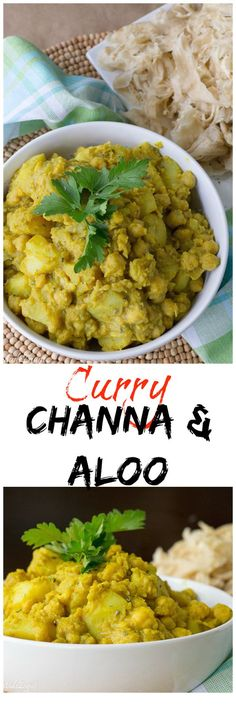 Curry Channa and Aloo - A savory dish of chickpeas and potato simmered in a herbal curry sauce. #HomeMadeZagat