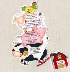 12 Farm Animal Birthday Party Invitations   by sarajanestudio, $15.00