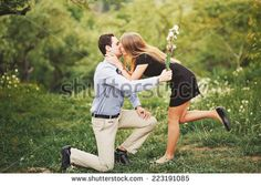 Will you marry me ? Proposal of a man. Young couple spending weekend together in autumn garden.  - Shutterstock  stock photo