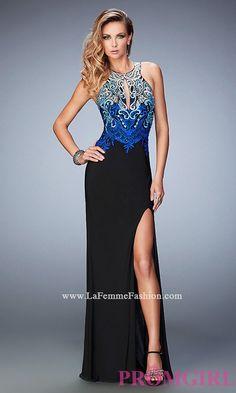 Open Back Keyhole Long Gigi by La Femme Prom Dress Style: LF-22580