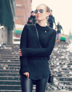 #leather #knitwear #biker #boots #mk #aviator #outfit