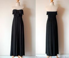 Black Evening Frill Dress by pinksandcloset on Etsy