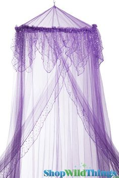 """Canopy """"Evangeline"""" Purple With Holographic Polka Dots Mosquito Net"""