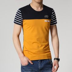 Men Cotton Patchwork T-Shirts, Yellow, White Item Type: Tshirts Style: Fashion Material: Cotton Collar: O-Neck Collar Sleeve Length: Short Sleeves Shirts Type: Casual Shirts Outfits Casual, Mode Outfits, Casual Shirts, Polo Shirt Outfits, Polo T Shirts, Mens Shirt Pattern, Mens Clothing Styles, Shirt Style, Shirt Designs