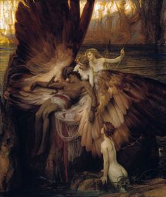 "1898 Herbert James Draper, Lament for Icarus, Mythology, ANGELS, 20""x16"" CANVAS"
