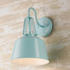 """Soft Industrial Outdoor Wall Sconce high gloss finish and soft muted color palette  refined industrial style  streamlined design is light and airy White, Soft Blue, Dove Gray or Orange. 100 watt medium base lamp required. 13.25"""" H x 9"""" W x 10"""" E Backplate 5"""" round. Crystal rod may be removed."""