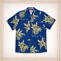 """FREE SHIPPING – EVERY ORDER, EVERY DAY! RJC Hawaiian Shirt """"Uku Pineapple"""" – Blue  Coconut shell buttons and matching print engineered chest pocket. Standard Collar, Placket Front, Full Open. Reverse printing is Hawaii's traditional way of manufacturing aloha shirts. Using the reverse side of fabric, it's subtle color and pattern is perfect for many occasions from casual to wedding and the office. 100% Cotton, Made In…"""