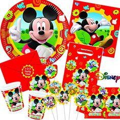 113-teiliges MICKEY MOUSE CLUBHOUSE - #PARTY SET für #Kindergeburtstag mit 6-10 Kinder: Teller, Becher, Servietten, #Einladungen, #Partytüten, Tischdecke, Trinkhalme, #Luftballons, Luftschlangen u.v.m. // #Geburtstag Party #Kinderparty #Kinderfest #Kinder #Fete #Disney Pixar Mickey Mouse Maus