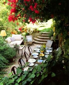love indoor furniture outside and plates. Inspiration for back patio on opposite side of sunroom