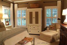 Window/furniture arrangement for master bedroom and plantation shutters