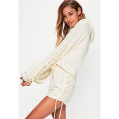 Missguided Cream Lace Up Sleeve Detail Cropped Hoodie ($13) ❤ liked on Polyvore featuring tops, white, tie crop top, crop top, cream top, lace tie up top and cut-out crop tops