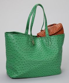 Take a look at this Green Ostrich Embossed Tote by Jeanne Lottie on #zulily today!