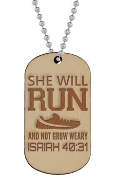 Super unique and powerful Runner's Dog Tag Necklace laser-engraved on real Birch Wood!