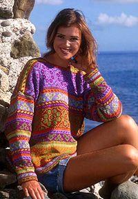 DROPS genser i Muskat ~ DROPS Design ~ Purple multicolor pattern, crew neck sweater