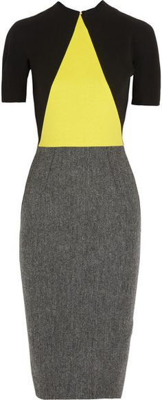 Crepe and Wool Tweed Dress - VICTORIA BECKHAM