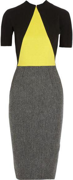 Crepe and Wool Tweed Dress - VICTORIA BECKHAM