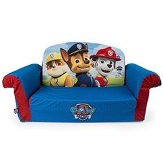 Sit, flip and play with the Paw Patrol themed 2-in-1 Flip Open Sofa! It transforms from a couch into a comfy lounger. Made from soft and durable lightweight foam, Flip Open Sofas make the comfiest of seats or rest areas and are easy for your Toddler to pick up and move. Every Flip Open Sofa comes with a removable and machine washable slipcover featuring a safety-lock zipper to protect your little one. Marshmallow Fun Furniture Paw Patrol Flip Open Sofa. toys4mykids.com