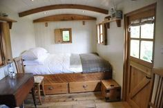 Bed Alcove....domed ceiling, windows, raised with drawers underneath, shelves for music player  Dutch Door with cottage hardware
