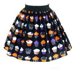 On Halloween Gothic Cupcakes Vintage Inspired Skirt (£25) ❤ liked on Polyvore featuring skirts, grey, women's clothing, cotton skirts, goth skirt, gothic skirts, grey cotton skirt and gothic lolita skirts