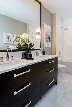 Atmosphere Interior Design - bathrooms - gray walls, gray wall color, black and white floral art, marble floor tile, marble tiled floors, ma...