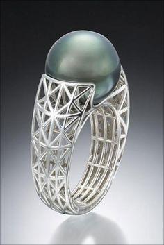 Black Pearl Ring / Ganoskin / Black south sea pearls, 14K white gold /  Photographer: Ralph Gabriner