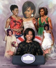 A beautiful historic montage by Wishum Gregory featuring stunning images of the first African American First Lady, Michelle Obama. Michelle Und Barack Obama, Michelle Obama Fashion, Barack Obama Family, First Black President, Our President, Joe Biden, Durham, Obama Art, American First Ladies