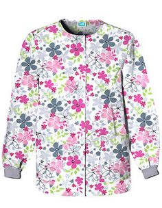 Style Code: (CH-4350SV) Make the day brighter with the scrub jacket in Sunnyvale motif printed in cute and light colored flowers all over. Cherokee HQ snap front jacket has a jewel neckline for effortless closure. This has knit cuffs to stay its long sleeve in place. It also features two spacious lower patch pockets and a cell phone pocket. The center back length of this warm-up jacket is 27.5 inches that is made up of 65/35 Brushed Poly/Cotton Poplin.