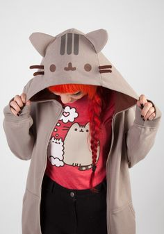 Pusheen Kitty Cat Costume Hoodie - so cute! It even has a tail. #halloween #everyday