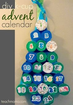 k-cup advent calendar: make it a thoughtful, thankful holiday . . . | christmas | handmade advent calendar | reuse k-cups!