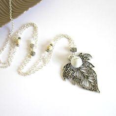 Sautoirs, Bola de grossesse blanc argenté grande feuille est une création orginale de Color-life-bijoux sur DaWanda