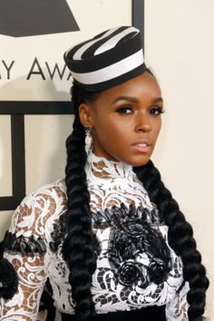 Pin for Later: Every Gorgeous Beauty Look From the Grammys Red Carpet Janelle Monáe Janelle's thick, lengthy pigtail braids added a youthful quality to her beauty look.