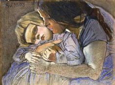 Stanisław Wyspiański - Motherhood Art Through The Ages, Baby Painting, Maternity Portraits, Mothers Love, Mother And Child, Art Auction, Beautiful Paintings, Mixed Media Art, Kids And Parenting