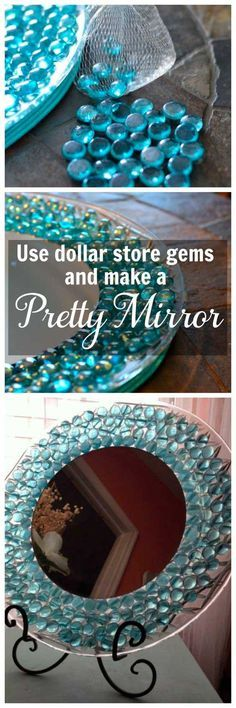 is an easy dollar store craft. Use items from the dollar store to make a pretty mirror to display on a table or dresser.This is an easy dollar store craft. Use items from the dollar store to make a pretty mirror to display on a table or dresser. Crafts For Teens To Make, Crafts To Sell, Home Crafts, Fun Crafts, Sell Diy, Kids Diy, Decor Crafts, Crafts To Make And Sell Unique, Craft Projects For Adults