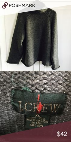J. Crew 90s Vintage 100% Wool Rollneck Sweater J. Crew 90s Vintage 100% Wool Grey Rolled Mock Turtleneck Sweater.  No holes or stains. This sweater is a 90s normcore dream. I just love these 90s vintage J. Crew sweaters!  The tag on this one is XL but I'm a large and I like the oversized fit on me.  Ask for measurements if you're unsure!  Make me an offer 😉 J. Crew Sweaters Cowl & Turtlenecks
