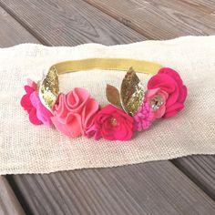Felt Flower Crown // Pink + Glitter Gold // First Birthday Crown // Photo Prop