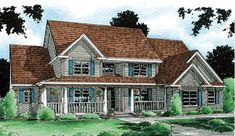 Country Style House Plans - 3914 Square Foot Home , 2 Story, 4 Bedroom and 3 Bath, 3 Garage Stalls by Monster House Plans - Plan Family House Plans, Country Style House Plans, Best House Plans, Country Style Homes, House Floor Plans, Monster House Plans, Farmhouse Plans, Traditional House, Traditional Design