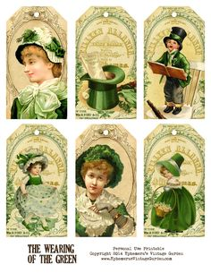 I've got some green for you this week. These hang tags will go well with your St-Patty's Day festivities. For Persona. Vintage Tags, Vintage Labels, Vintage Ephemera, Vintage Postcards, Vintage Prints, St Pattys, St Patricks Day, Saint Patricks, Decoupage