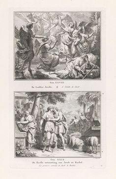 Pieter Tanjé   Jakobs ladder / Jakob ontmoet Rachel, Pieter Tanjé, 1716 - 1761   Twee Bijbelse voorstellingen. Boven: Jakob ligt te slapen en droomt van een tot in de hemel reikende ladder, waarlangs engelen op- en afdalen. Onder: bij de bron in Haran ontmoet Jakob Rachel, die haar vaders schapen te drinken geeft. Jakob omhelst Rachel. Onder de voorstellingen een verwijzing naar de Bijbelteksten en de titels in het Nederlands en Frans.