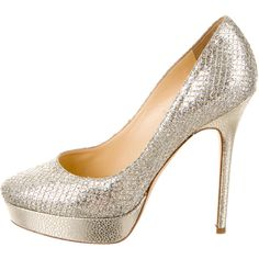 Jimmy Choo Glitter Platform Pumps ($225) ❤ liked on Polyvore featuring shoes, pumps, metallic, platform shoes, metallic platform shoes, metallic pumps, rounded toe pumps and jimmy choo