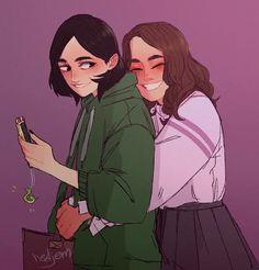 Harry Potter Couples, Harry Potter Ships, Harry Potter Fan Art, Harry Potter Memes, Hogwarts, Slytherin, Draco And Hermione, Hermione Granger, Lesbian Art