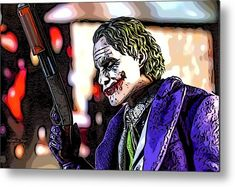 Tonights Entertainment Metal Print by Jeremy Guerin. All metal prints are professionally printed, packaged, and shipped within 3 - 4 business days and delivered ready-to-hang on your wall. Joker Pics, Joker Art, Batman Art, Mark Hamill, Aluminium Sheet, Any Images, Got Print, Rich Colors, Your Image