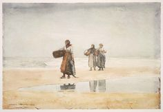 """""""Tynemouth Sands,"""" Winslow Homer, 1882–83, watercolor over graphite pencil on paper, 14 5/8 x 21 1/2"""", Museum of Fine Arts, Boston."""